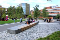 plaza, modern stone and wood custom bench, cobble paving