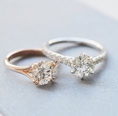 yellow or white gold? two gorgeous solitaires.