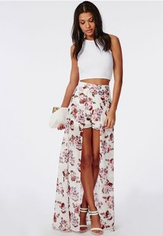 Floral Print Shorts With Maxi Skirt Detail - Dresses - Maxi Skirts - Missguided