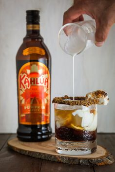Enjoy the taste of s'mores from the comfort of your own home with this delicious drink featuring Kahlua Pumpkin Spice.