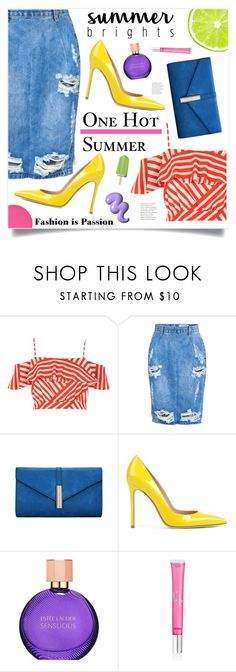 """""""Hot In The City"""" by marina-volaric ❤ liked on Polyvore featuring River Island, One Teaspoon, Gianvito Rossi, Estée Lauder, Beauty Rush, Essie and summerbrights"""