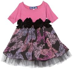 Blue Pearl Baby-girls Infant Jackie Dress with Stretch Velour Top and Butterfly Printed Cheffon