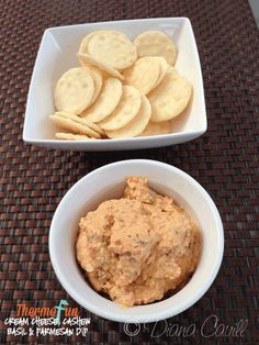 Cream Cheese With Cashew, Basil & Parmesan Dip (Thermomix)  1 red capsicum - quartered Handful of fresh basil 50g parmesan cheese (cubed) 100g cashews 40g natural yoghurt 1 clove garlic 250g Cream Cheese 1 spring onion