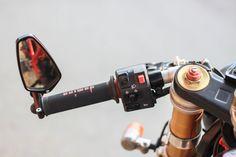 CRG mirror, Ducati left switch, Domino grips.