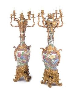 A pair of large Louis XV style ormolu-mounted Famille Rose and Famille Verte porcelain eight-light candelabra THE COVERS KANGXI PERIOD (1662-1722), THE NECKS SAMSON, 19TH CENTURY, THE JARS CHINESE, 18TH CENTURY, THE ORMOLU THIRD QUARTER 19TH CENTURY Price realised  GBP 110,400 Estimate  GBP 50,000 - GBP 80,000