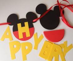 DIY Mickey Birthday Banner Kit with Yellow Letters and Optional Custom Name and FREE GIFT by FeistyFarmersWife