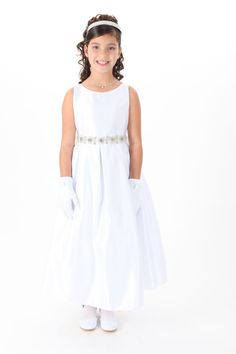 Girls Dress Style 587 - Choice of White or Ivory Satin Sleeveless Dress with Beaded Detailing $52.99