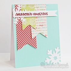 Love the graphic nature and colors of this card - SeaGlass Papercrafts: The 12 Kits of Christmas--October