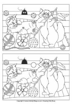 Cats Find the Differences Puzzle Najdi 10 rozdílů Spring Activities, Craft Activities For Kids, Infant Activities, Super Coloring Pages, Colouring Pages, Puzzles For Kids, Worksheets For Kids, Teaching Kids, Kids Learning