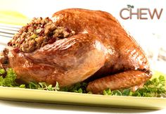 Get Holiday Turkey with Cranberry Pecan Stuffing Recipe from Food Network Stuffing Recipes, Thanksgiving Turkey, Thanksgiving Recipes, Holiday Recipes, Christmas Recipes, Thanksgiving Decorations, Dinner Recipes, The Chew Recipes, Bon Appetit