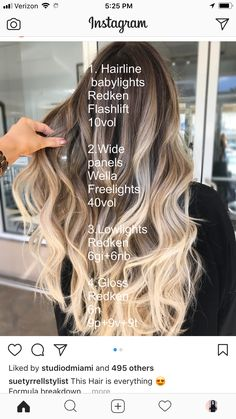 nice Hair Color Formulas 51 Beautiful Hair Color Formulas For blond hair by Hair Color Formulas My Hairstyle, Pretty Hairstyles, Bilage Hair, Hair Color Formulas, Redken Color Formulas, Redken Hair Products, Hair Color Techniques, Beautiful Hair Color, Hair Color Balayage