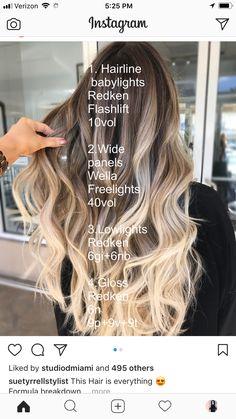 nice Hair Color Formulas 51 Beautiful Hair Color Formulas For blond hair by Hair Color Formulas Bilage Hair, Hair Dos, Haircut And Color, Hair Color And Cut, My Hairstyle, Pretty Hairstyles, Hair Color Formulas, Redken Color Formulas, Hair Color Techniques