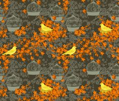 Cherry Blossoms And Nesting Birds fabric by diane555 on Spoonflower - custom fabric