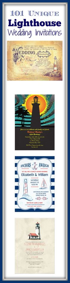 Lighthouse Wedding Invitations for a nautical lighthouse themed wedding.  #wedding