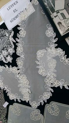 This Pin was discovered by Sa Hand Embroidery Stitches, Crewel Embroidery, White Embroidery, Romanian Lace, Free To Use Images, Point Lace, Art N Craft, Diy Flowers, Diy And Crafts