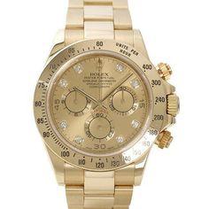 Rolex Daytona Yellow Gold Bracelet Watch, Champagne Diamond Dial   @ashleesloves.com