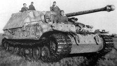 "A heavy tank hunter ""Ferdinand"" acting as fire brigade on East-front, near Nikopol (Ukraine), late '43."