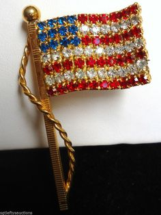 Vintage Patriotic Red Clear Blue Rhinestone Encrusted American Flag Pin Brooch