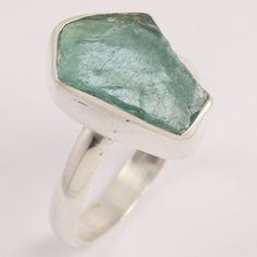 925 Sterling Silver Ring Size US 9 Natural APATITE Raw Rough Gems ! Best Seller #Unbranded