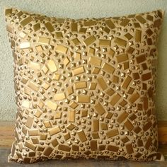 Decorative Throw Pillow Covers Accent Pillow Couch Sofa Bed Toss 16x16 Inch Gold Silk Pillow Cover Sequins Embroidered Home Decor Melodrama on Etsy, $28.10