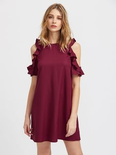 ¡Consigue este tipo de vestido informal de SheIn ahora! Haz clic para ver los detalles. Envíos gratis a toda España. Buttoned Keyhole Back Frilled Open Shoulder Dress: Burgundy Elegant Cute Sexy Polyester Cold Shoulder Short Sleeve Shift Short Cut Out Button Ruffle Plain Fabric has no stretch Summer Tunic Dresses. (vestido informal, casual, informales, informal, day, kleid casual, vestido informal, robe informelle, vestito informale, día)