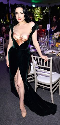 Dita Von Teese shows off her cleavage in a Ulyana Sergeenko Dress - Picture courtesy of Image.net / Stefanie Keenan / Getty Images for Belvedere Vodka / Atlantic Images