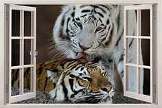 "Huge 3D Vinyl Wall Decal Sticker by Bomba-Deal, Window Frame Style High-Quality Home Décor Art Removable Wall Sticker, 33.5""X 47"" (Wild Animals Tiger Tigre Jungle Animal Romantic View) Bomba-Deal http://smile.amazon.com/dp/B00LICYUEG/ref=cm_sw_r_pi_dp_eF-ywb0SV42PE"