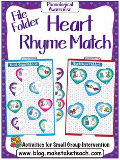 Valentine's Day file folder activities for learning rhyme! Primary Resources, Teacher Resources, Teaching Ideas, File Folder Activities, Hands On Activities, Organization And Management, Classroom Organization, Rhyming Kindergarten, Preschool