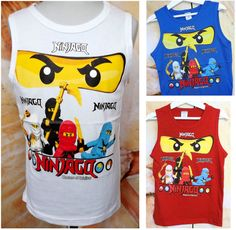 Ninja Go Kinder Jungen T-shirt Tank Top Träger-Top Gr 104-128 (TJ-17)