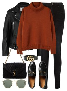 """Untitled #3218"" by elenaday ❤ liked on Polyvore featuring Acne Studios, Pieces, Gucci, Yves Saint Laurent and Ray-Ban"