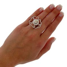 Flower ring handmade sterling silver flower ring by emmanuelaGR