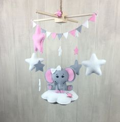 Elephant mobile Baby mobiles cloud by JuniperStreetDesigns