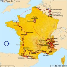 Bildresultat för tour de france 1989 race map