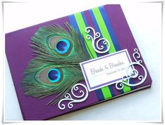 peacock wedding guest book, purple and green.  Custom Made!