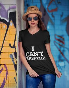 I can Breathe for support of George Floyd and Black lives Matter Embroidered Polo Shirts, Raglan Shirts, Sports Shirts, Summer Outfits, Summer Clothes, V Neck T Shirt, Long Sleeve Tees, At Least, Unisex