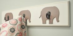 Elephant Wall hooks to accessorize your nursery. Great for girl or boy! Neutral colors compliment any wall color.