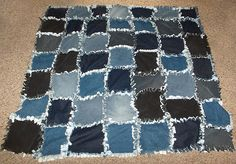old blue jean quilt; I remember these! I think the idea to use the zipper as a pocket is awesome!  Too bad today's youth wears their jeans ripped, they won't have anything left to use for patches.....