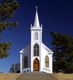 The structure of this small white church is perfect.