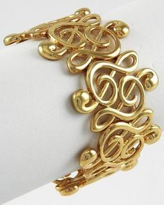 Treble Clef Stretch Bracelet Bangle C13 Music Musical Gold Tone 1 50 inch Wide | eBay