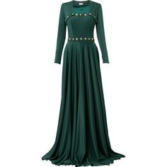 Alexis Mabille buttoned square neck gown ($4,002) ❤ liked on Polyvore featuring dresses, gowns, gown, green, square neck gown, alexis mabille, button dress, green evening gown and green ball gown