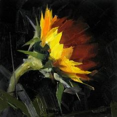 single sunflower oil painting
