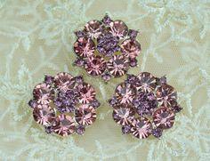 Sparkling 2-tone Flower Rhinestone Buttons by TrueNorthTreasures