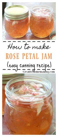 Jam Canning Easy recipe for canning rose petal jam. Learn how to make rose petal jam from wild roses.Easy recipe for canning rose petal jam. Learn how to make rose petal jam from wild roses. Canning Soup Recipes, Pressure Canning Recipes, Cooking Recipes, Rhubarb Canning Recipes, Rose Petal Jam, Rose Petals, Rose Petal Jelly Recipe, How To Make Rose, Dressings