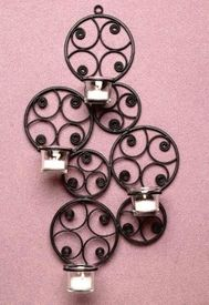 Retro Scroll Metal Candle Wall Sconce - Candle Holder