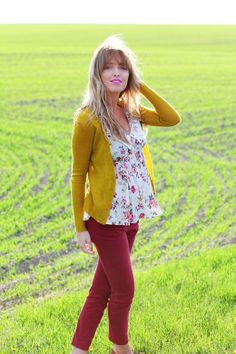 thedaybookblog.com I loves this. I was thinking yellow pants and red cardi. They have yellow pants at pacsun..