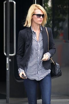 Outfit Posts: outfit posts: blue plaid shirt, black jacket, jeans