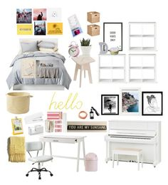 """""""YELLOW & PINK ROOM THEME!! THIS WILL HAPPEN IN THE NEAR FUTURE!!! (approx $1160 for my full room transformation)"""" by drpalmer on Polyvore featuring interior, interiors, interior design, home, home decor, interior decorating, Room Essentials, Threshold, MikeyLins by Petal Lane and Block"""