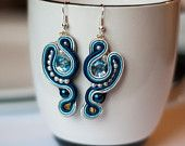 Agates Des.   Blue soutache earrings