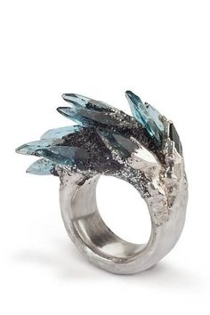 Small Spiky Blue Ring #handmadesilverjewelry