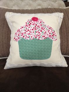 Cupcake pillow cover, Dessert pillow cover, Handmade, Birthday pillow, Appliqué by sweetkimmieT on Etsy